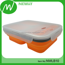 Food Grade 3 Compartments Silicone Folding Lunch Box