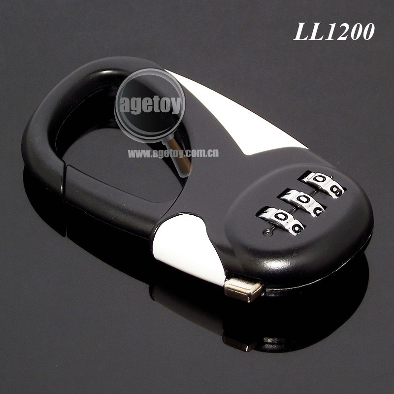 Carabiner Shaped Three Digit Combination Zinc Alloy Metal Luggage Combination Lock