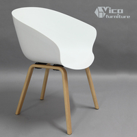 modern dining room living room office furniture plastic seat wooden leg designer beauty chair