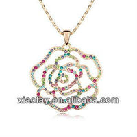 Beauty Rose Shaped Charm Jewelry Sweater Necklace Accessories