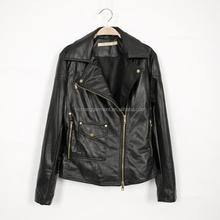 HOT sales! new product fashion black genuine soft thin leather jacket for lady