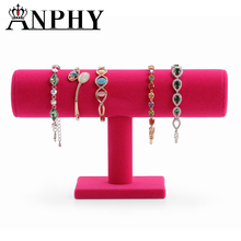 ANPHY A64-2 Rose red Velvet Hard Bracelet Jewelry Display Stand Holder Packagaing T-Bar Bracelet Chain Watch Holder