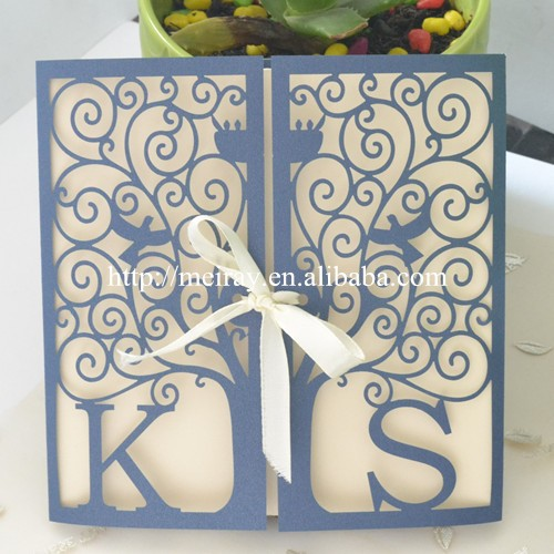 "Customized wedding cards invitation 2016! unique wedding invitation card, ""happiness tree"" laser cut invitation sleeves"