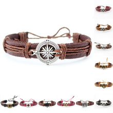 Cheap Wholesale Adjustable Life Ring Rudder Compass Diy Charm Mens Relationship Genuine Leather Cool Bracelets For Boy