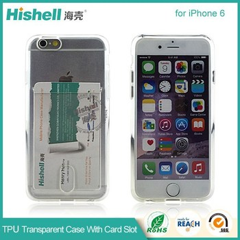 2016 factory price transparent tpu phone case with card slot for iphone 6 cover