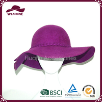 Alibaba China supplier purple fancy wool floppy hat for ladies