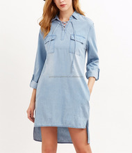 Ladies Blue Lace Up Front Flap Pocket Front High Low Dresses Fashion Spring Classical Style Womens Denim Dress