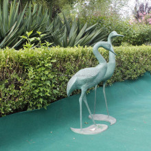 Handicraft cast aluminium metal art crafts animal theme couple crane statues for garden decoration