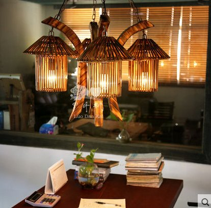Vintage Industrial Bamboo 4 Lamps art Large Pendant Lamps