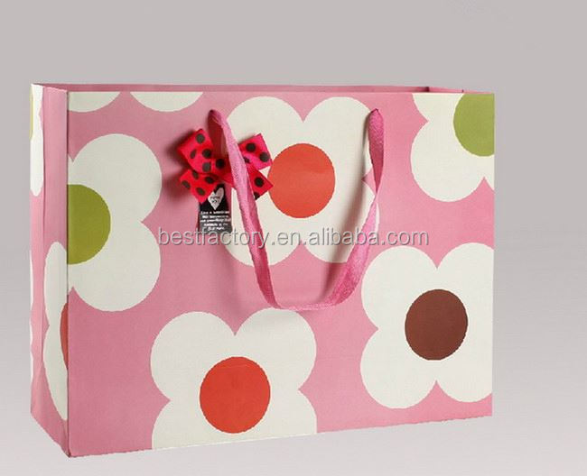 Big discount-white matt gift paper bags with black tape 1409