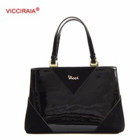 VICCIRAIA Fashion Elegant Black Laddy Handbag Women PU Leather Bags