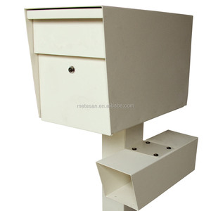 Waterproof outdoor metal mailbox letter box with newspaper holder