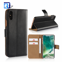 Premium Quality Black Luxury Vintage Genuine Real Leather Wallet Flip Case Cover For iPhone X Mobile Phone Accessories
