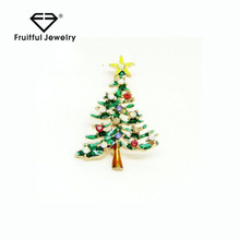 Reasonable price Fashionable color crystal enamel Christmas tree brooch online shop china wire jewellery funny fashion brooch