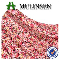 Mulinsen Textile Hot Sell Single Jersey Printed 4 Way Stretch Polyester Knitting Women Stretch Fabric Flowers for Dresses