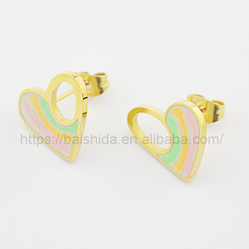 stud earrings accessories rainbow love heart shape earring women kids jewelry