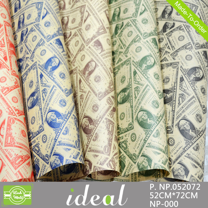 52X75cm bestselling craft paper printed money wrapping paper