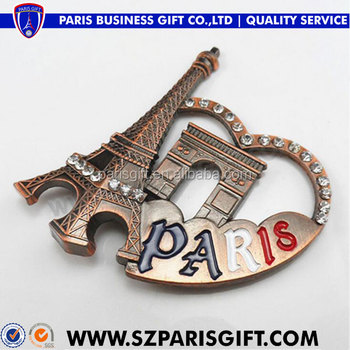 3d Paris Tower antique copper fridge magnets with shining stones