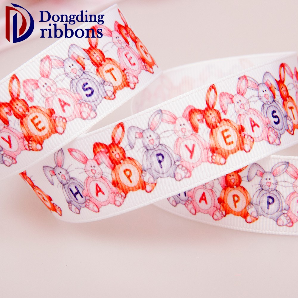 DDLA107 decorative 25mm printed grosgrain ribbon cartoon rabbit character ribbon for gift packaging