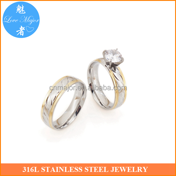 Wholesale 18k Gold Plated Two Tone Fashion Jewelry Stainless Steel Wedding Couple Rings With Zircon MJJBR-010