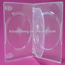 14mm clear multi 4 discs dvd box with swing tray
