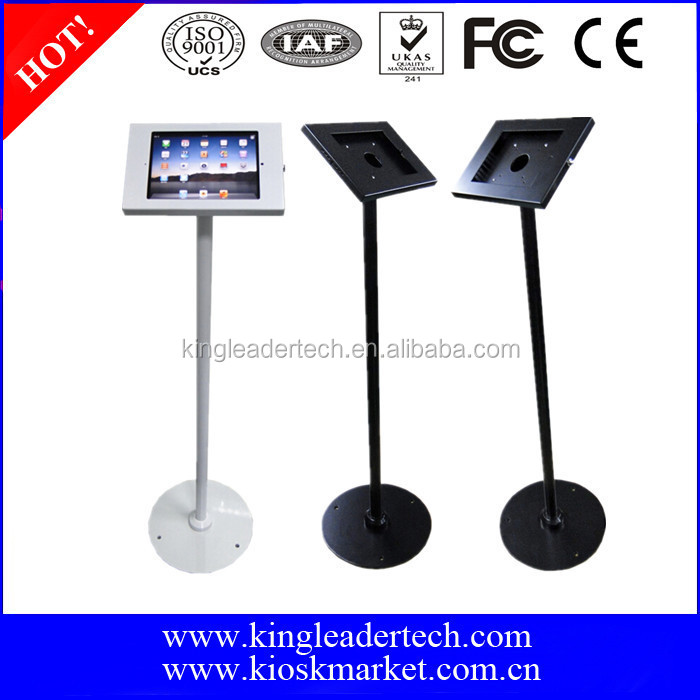 Retail tablet floor stand kiosk enclosure for iPad 2/3/4/air,and optional home button cover