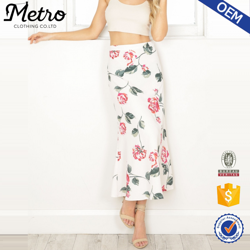 Custom Women White Floral Print Ruffled Long Maxi Skirt