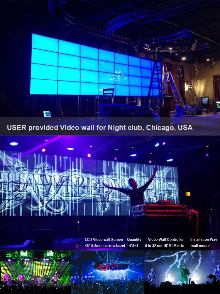 Advertising display LCD video wall with video wall monitors
