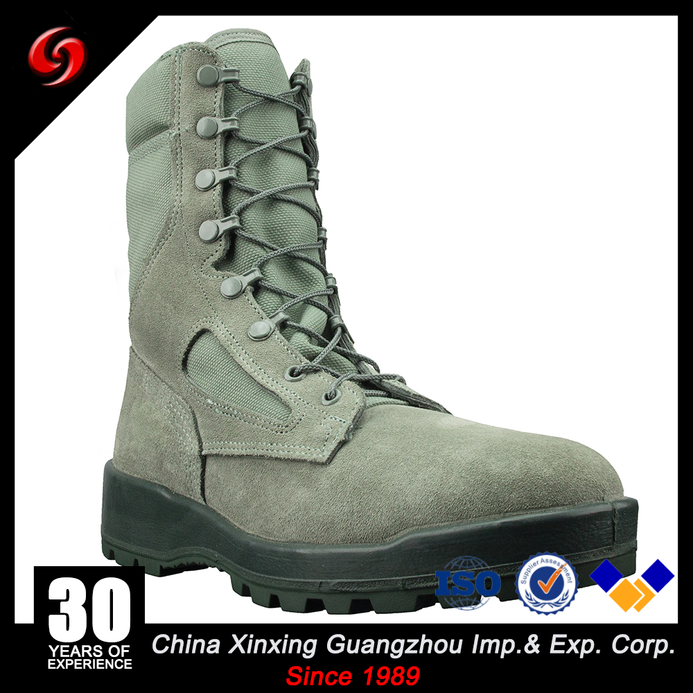 green PU injection rubber full grain leather army tactical comfortable combat men's EVA sole shoes/boots for sports