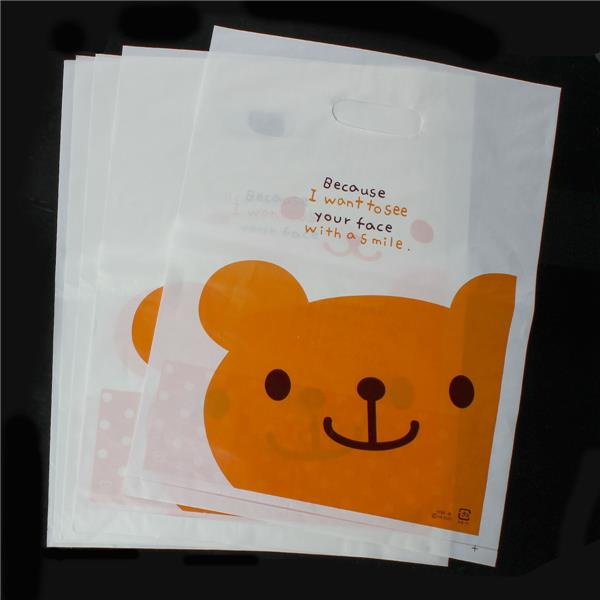 Factory Price Bear Pattern <strong>Orange</strong> Plastic Party Gift Bags