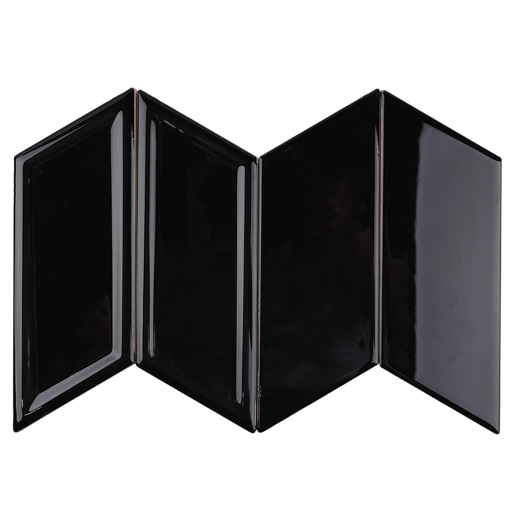 China factory new design black geo shaped 3D black ceramic <strong>tile</strong> for Bathroom Restaurant