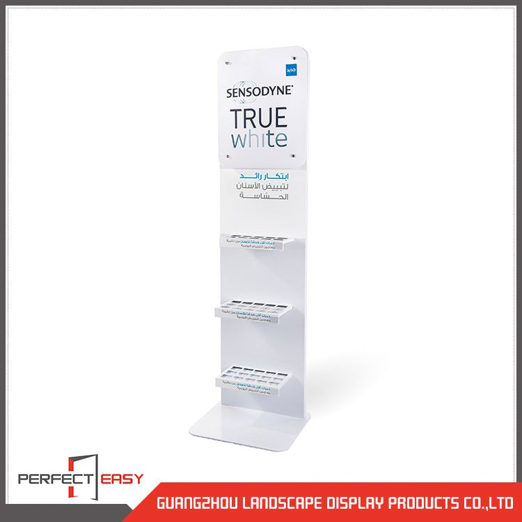 Customized advertising toothbrush metal floor display stand