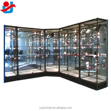 4 Feet Delicate Jewelry Display Mirror Backing Glass Show Case With Adjustable Glass Shelf