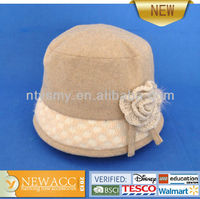 Woolen fashion ladies church hat with fancy knitted flower