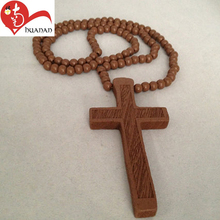 China manufacture Easter decoration wooden rosary olive wood beads cross religious pendants