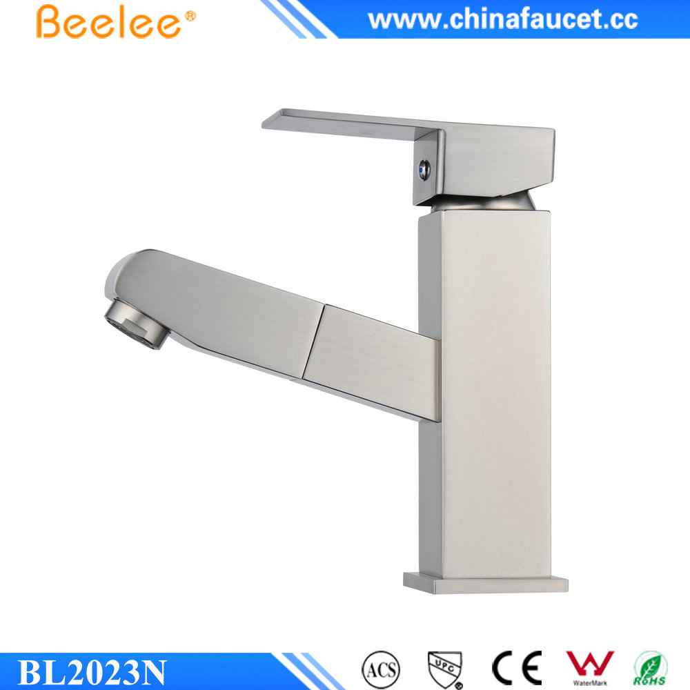 Beelee BL2023N Brushed Nickel One Hole Wash Basin Mixer Tap Pull Out Sprayer Bathroom Sink Faucet