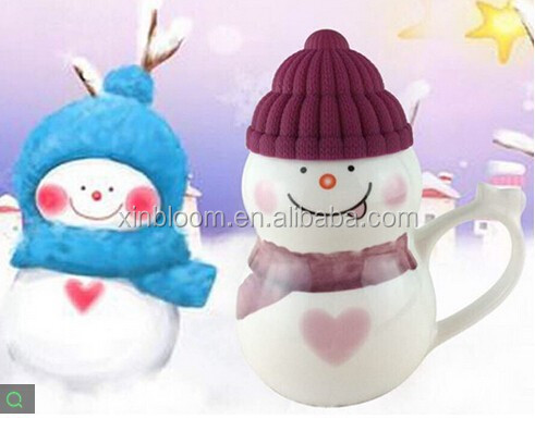 creative christmas snowman model gift ceramic coffee mug with silicon hat