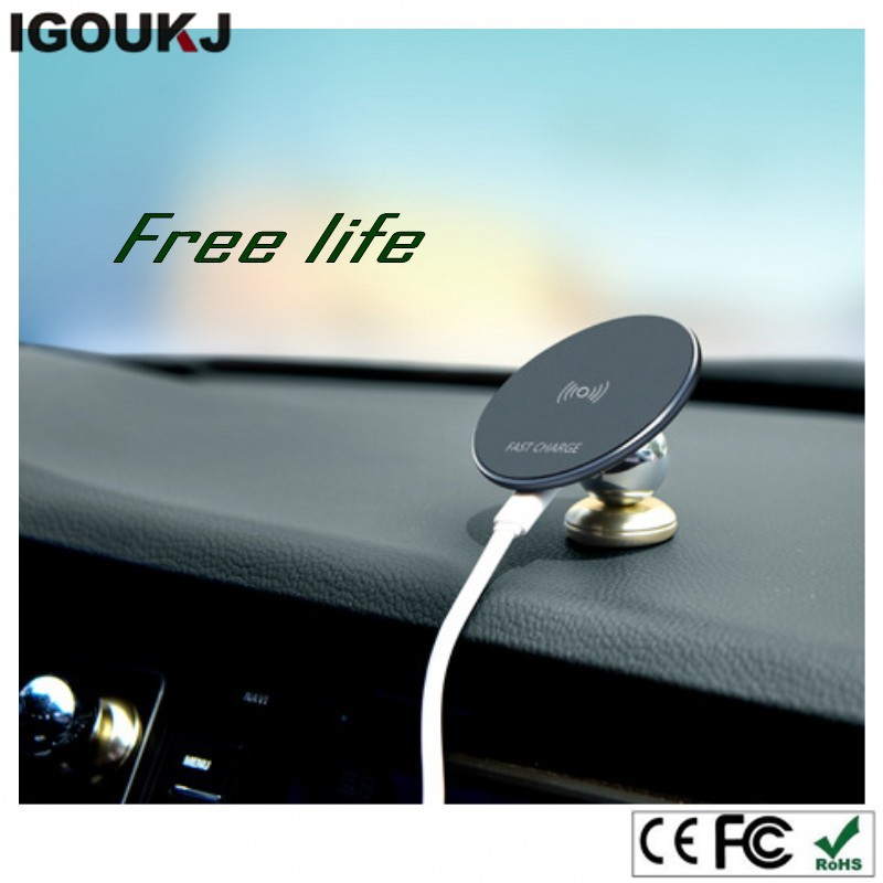 Free ship OEM print magnetic metal phone car charge cell phone holder for iphone X for samsung Qi wireless charger