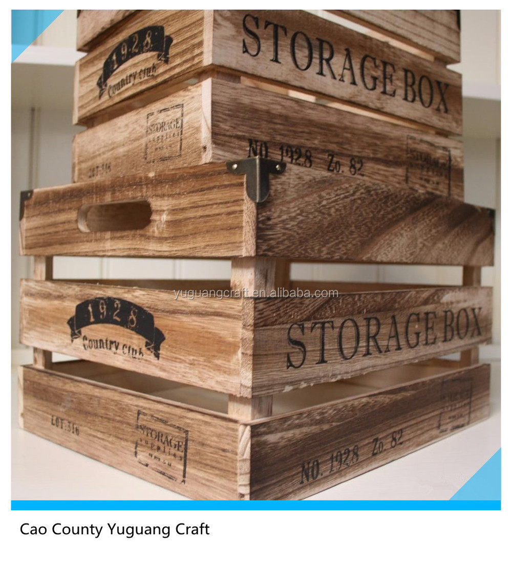 New vintage style wholesale cheap wooden fruit crates for Vintage crates cheap