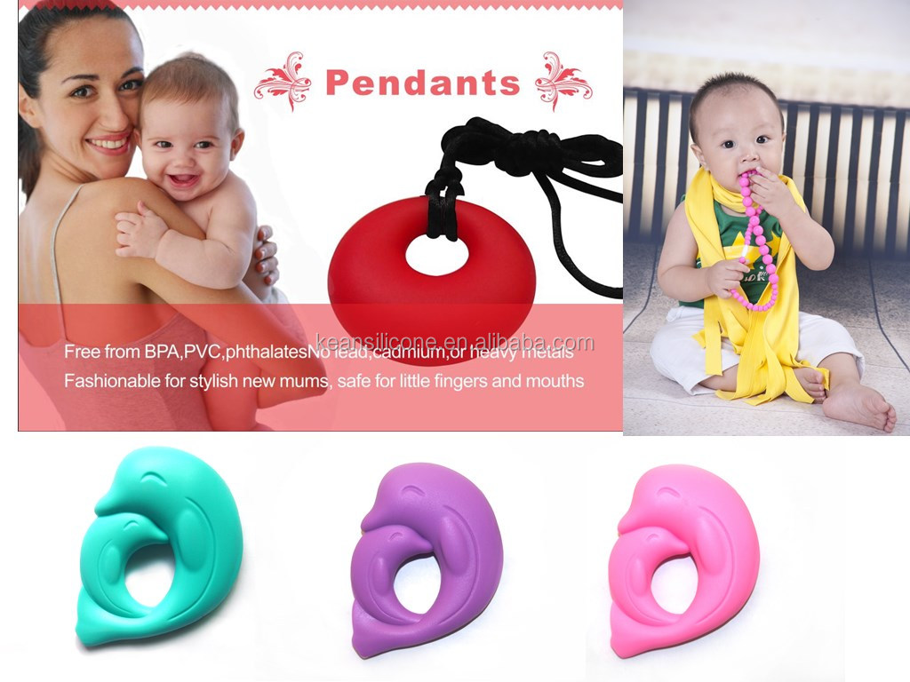 Dolphin Toys Pendant/Cute Baby Gift Silicone Dolphin Toys Pendant Necklace