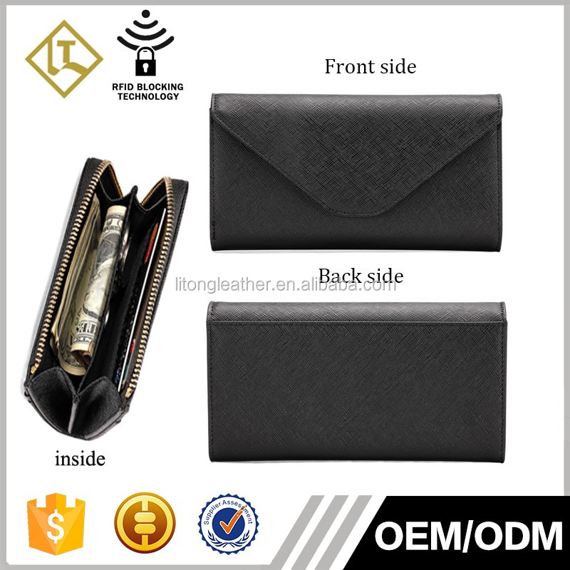 Latest stylish black saffiano leather ladies wallet zipper money purse