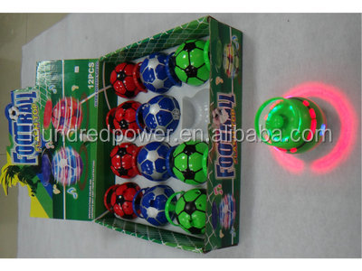 2015 Hot Selling LED Soccer-shaped Electroplating Flashing Spinning Top for Kids
