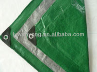 green silver 100gsm PE waterproof cheap tarpaulin fabric factory