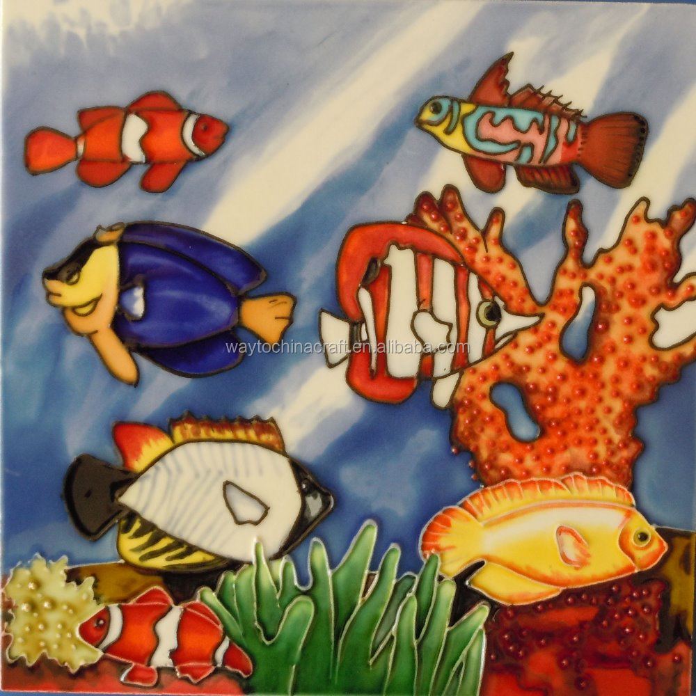 hand glazed and hand painted ceramic tile picture with vibrant and bright color