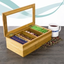 4 sections bamboo wooden tea bag organizer box with clear acrylic lid