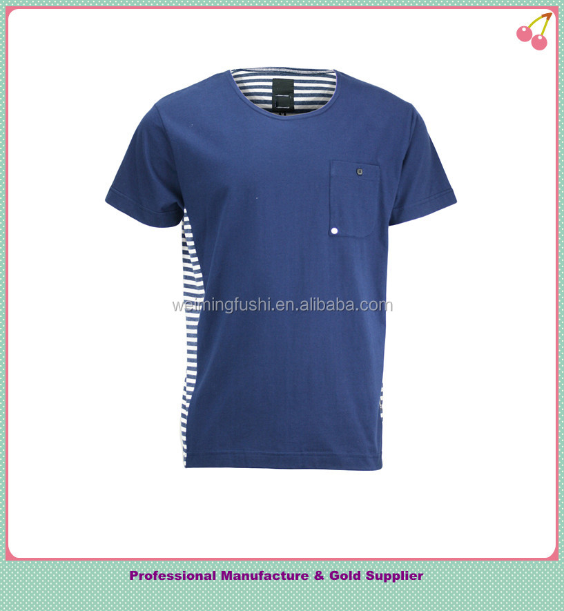 Men's Blue and white stripe T-shirt with pocket