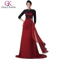 Grace Karin 2015 Latest Elegant Muslim Long Sleeve Lace Evening Gown CL6245