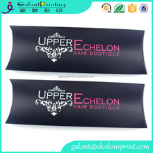 custom wholesale hair extension packaging pillow box with logo printed