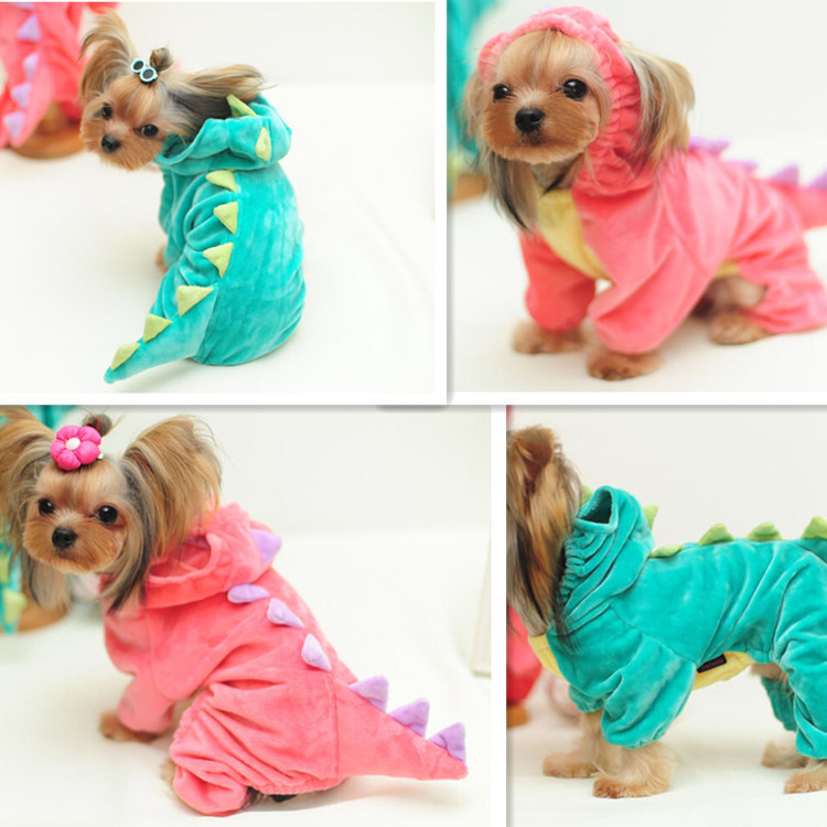 2 colors Puppy Hoodie Fancy Coat Pet Dog Cat Cute DINOSAUR dogs costume cloth