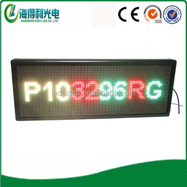 p10 tri color wirelss control led scrolling text led banner display